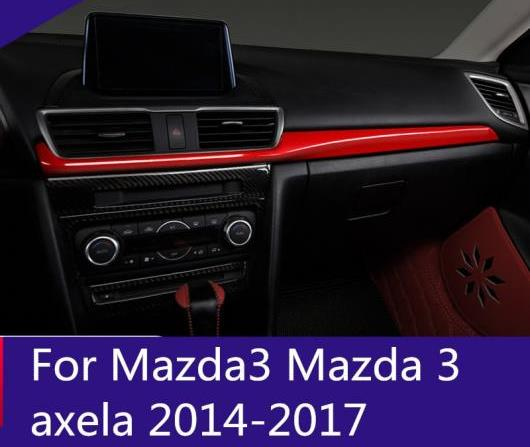 AL 適用: MAZDA3 マツダ 3 アクセラ 2014-2017 ABS クローム カーボンファイバー ミドル CD センター コントロール ストライプ ブラック・レッド AL-EE-6711