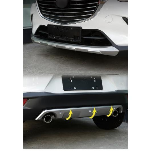 AL 適用: マツダ CX-3 CX3 2015-2017 ステンレス スチール フロント バンパー トリム クローム リア 装飾 ストリップ フロント リア 2ピース AL-EE-7255