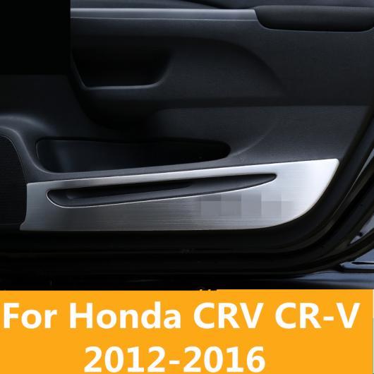 AL 適用: ホンダ CRV CR-V 2012-2016 ステンレス スチール プロテクター サイド エッジ 保護 アンチキック ドア マット カバー ケース ブラック・シルバー AL-EE-7115