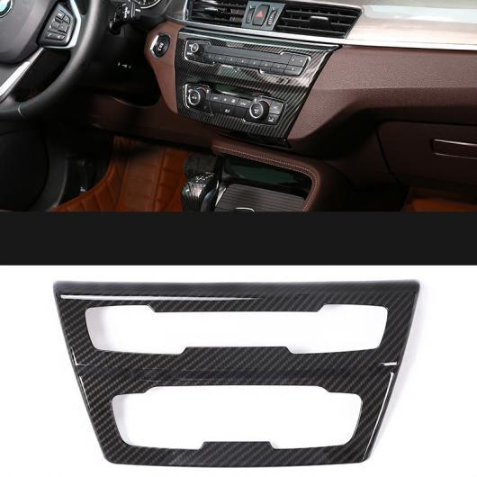 AL カーボンファイバー セントラル コントロール ノブ 装飾 パッチ アクセサリー インテリア 適用: BMW X1 F48 2016-2018 1ピース AL-EE-7755