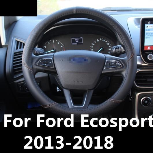 AL 適用: フォード エコスポーツ 2013-2018 ステアリング ホイール カバー ソフト レザー 編み上げ ハンドル インテリア アクセサリー スタイリング AL-EE-7068