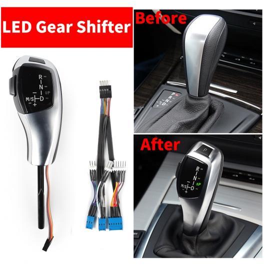 AL LHD LED ギア シフト シフター ノブ 自動車 レバー 適用: BMW 1 3 5シリーズ E81 E87 E82 E88 E90 E91 E92 E93 Z4 E89 E46 2D 4D 5D E60 E61 E90 E92 カーボンファイバー~E46 E60 シルバー AL-EE-8826