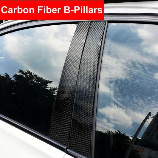 AL エクステリア カーボンファイバー ウインドウ B/Cピラー モールディング カバー トリム オート ステッカー 適用: BMW 3/5シリーズ E46 E90 F30 E60 F10 E70 E46 3シリーズ~GLA 2013-2018 AL-EE-8904