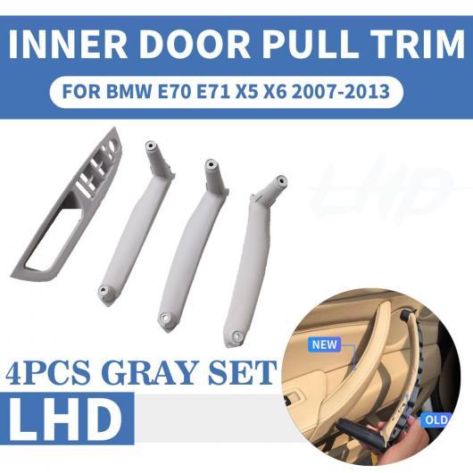 AL LHD 左ハンドル車 フロント/リア 左 右 インナー インテリア ドア プル ハンドル トリム カバー 適用: BMW E70 E71 X5 X6 ベージュ 4ピース セット~グレー 4ピース セット AL-EE-8703