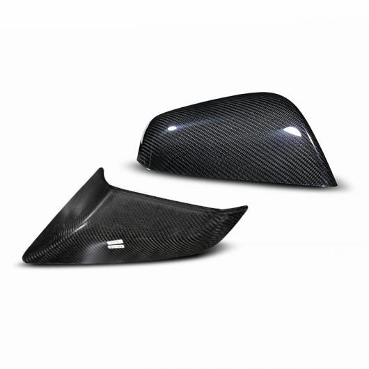 AL カーボンファイバー ドア リア ビュー ミラー カバー ステッカー 装飾 適用: テスラ モデル 3 S X アクセサリー ブライトブラック AL-EE-8936