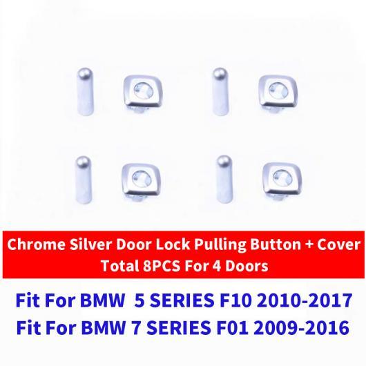 AL ブラック クローム ドア ロック ノブ プル スイッチ ボタン 適用: BMW X1 X3 X4 X5 X6 F25 F26 F15 1/3/5/6/7シリーズ F10 F01 4ピース シルバー セット AL-EE-9016