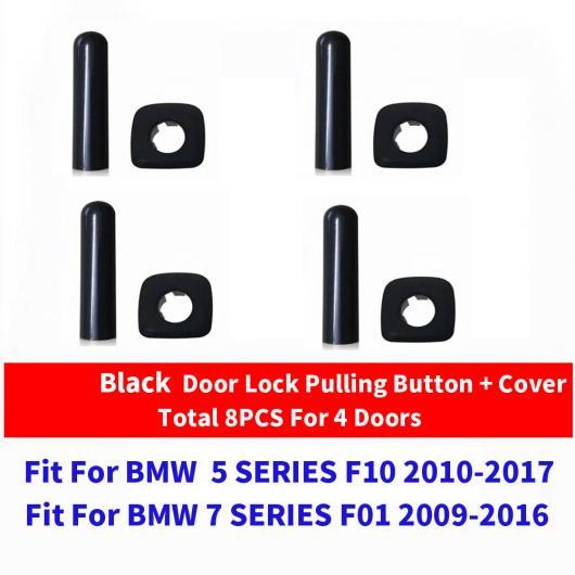 AL ブラック クローム ドア ロック ノブ プル スイッチ ボタン 適用: BMW X1 X3 X4 X5 X6 F25 F26 F15 1/3/5/6/7シリーズ F10 F01 4ピース ブラック セット AL-EE-9016