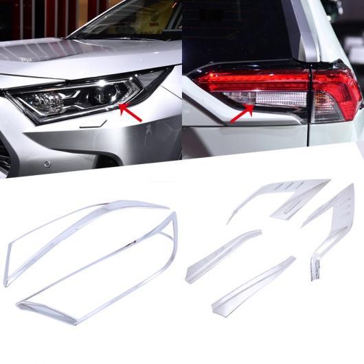 AL 適用: トヨタ RAV4 2019 2020 ABS クローム フロント ヘッド + リア テール ライト ランプ サラウンド カバー トリム ベゼル リア ライト カバー・フロント ライト カバー AL-FF-0816