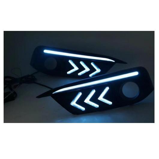 送料無料! AL 2ピース マスタング スタイル LED デイタイム ランニング ライト ターン 適用: ホンダ シビック 10代目 2016 2017 フォグ ドライビング ランプ ホワイト ブルー イエロー AL-FF-1366