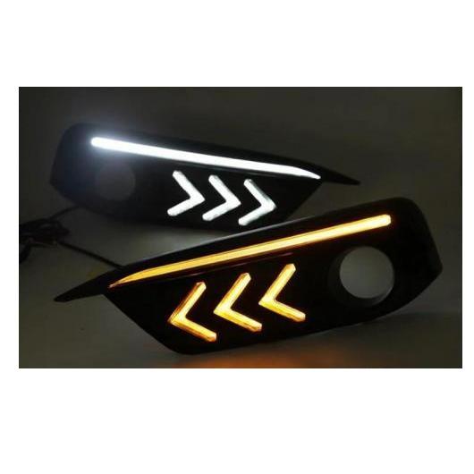 AL 2ピース マスタング スタイル LED デイタイム ランニング ライト ターン 適用: ホンダ シビック 10代目 2016 2017 フォグ ドライビング ランプ ホワイト イエロー AL-FF-1366