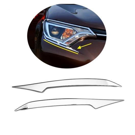AL 2ピース 適用: トヨタ RAV4 2016 2017 ヘッドライト トリム ランプ アイブロー カバー モールディング AL-FF-1295