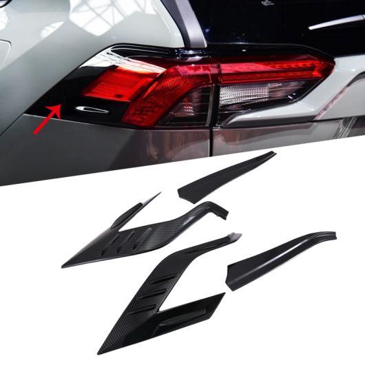 AL ABS クローム リア ライト カバー テールライト トリム ステッカー 適用: トヨタ RAV4 2019 2020 アクセサリー リア カーボン スタイル・リア ブラック AL-FF-1637