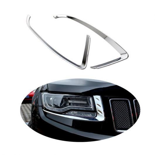 AL ヘッドライト アイブロー カバー トリム ステッカー 適用: ジープ グランド チェロキー 2014 2015 ABS クローム AL-FF-1944