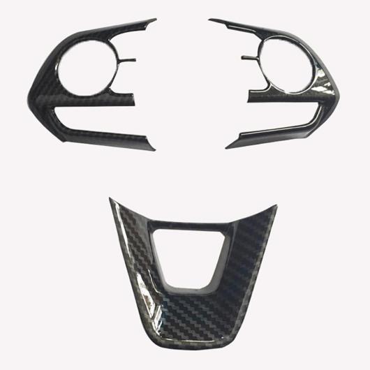 AL ステアリング ホイール カバー ステッカー ABS クローム トリム アクセサリー 適用: トヨタ セダン カローラ E210 プレステージ アルティス 2019 2020 3ピース カーボンファイバー AL-FF-3499