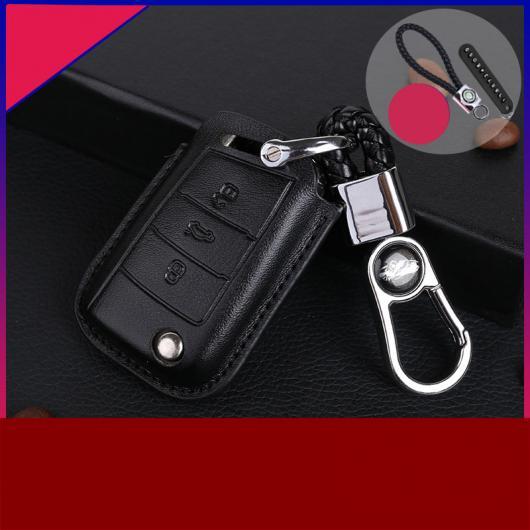 AL レザー 亜鉛 合金 キー ケース 適用: シュコダ コディアック ブラック レッド ワイヤー・ブラック ブラック ワイヤー AL-FF-3581