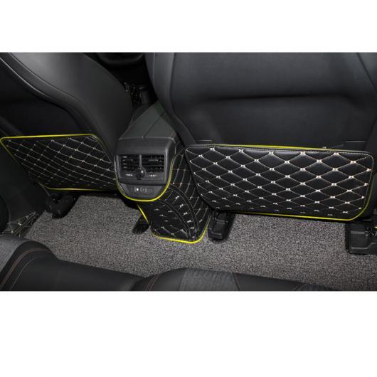 AL レザー カーシート バック アンチキック マット 適用: プジョー 5008 3008 2019 2020 インテリア ブラック ゴールド ワイヤー~ブラウン 3 ピース AL-FF-4301