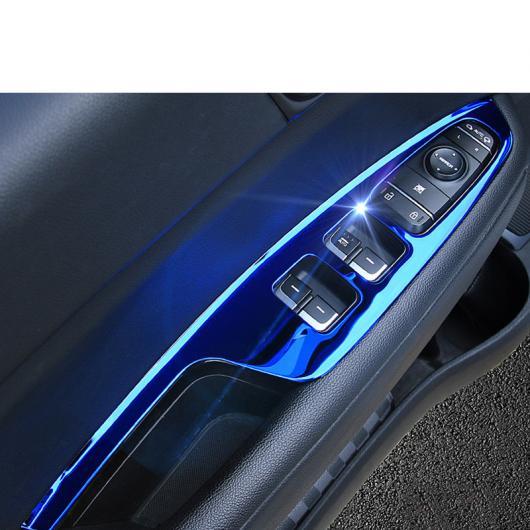 AL ステンレス スチール ドア ウインドウ コントロール パネル トリム 適用: 起亜 K5 オプティマ ブルー 4 ピース・光沢 シルバー 4 ピース AL-FF-4994