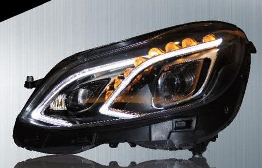 AL 適用: メルセデスベンツ/MERCEDES BENZ Eクラス ヘッドライト 2014-2015 LED ヘッドランプ DRL プロジェクター H7 HID バイキセノン レンズ 4300K~8000K 35W・55W AL-HH-0240