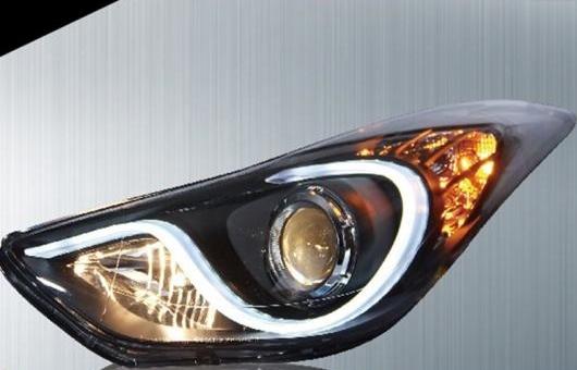 AL 適用: ヒュンダイ/現代/HYUNDAI エラントラ ヘッドライト 2012-2016 LED ヘッドランプ DRL プロジェクター H7 HID バイキセノン レンズ 4300K~8000K 35W・55W AL-HH-0260