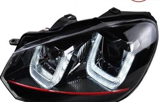 AL 適用: VW フォルクスワーゲン/VOLKSWAGEN ゴルフ 6 GTI ヘッドライト 2010-2012 MK6 LED DRL レンズ ダブル ビーム H7 HID キセノン BI 4300K~8000K 35W・55W AL-HH-0406