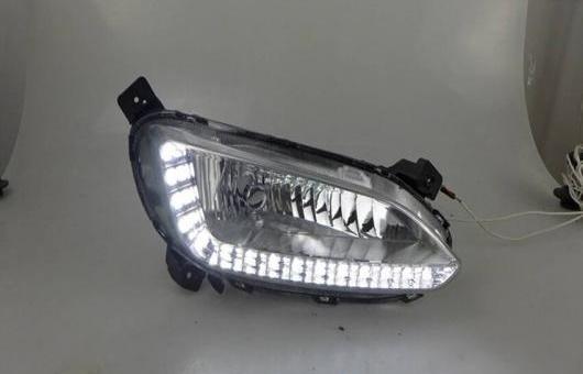 AL 適用: ヒュンダイ/現代/HYUNDAI IX45 2013-15 LED DRL フォグ ランプ デイタイムランニングライト 高光度 ガイド AL-HH-0610