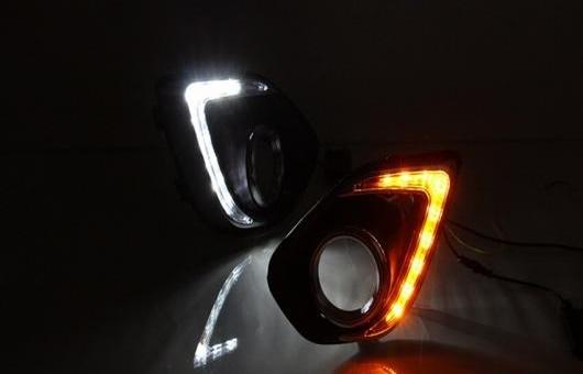 AL 12V 9 LED ライト DRL デイタイムランニングライト 適用: 三菱 ASX 2013-2014 フォグランプ ターンシグナル ホワイト AL-HH-0649