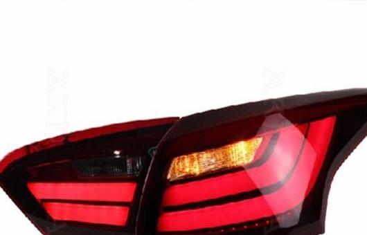 AL 適用: フォード/FORD フォーカス テールライト BMW デザイン 2012-2014 LED テール ランプ リア DRL + ブレーキ パーク シグナル ライト レッド AL-HH-0711