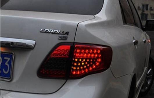 AL テール ライト 適用: トヨタ カローラ テールライト 2007-2010 LED ランプ リア トランク カバー DRL + シグナル ブレーキ リバース レッド AL-HH-0720