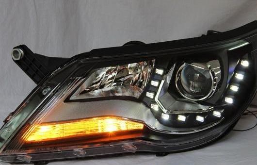 AL VW ティグアン ヘッドライト 2013-2014 LED TSI エンジェル アイ DRL H7 HID バイキセノン レンズ ロー ビーム 4300K~8000K 35W・55W AL-HH-0907