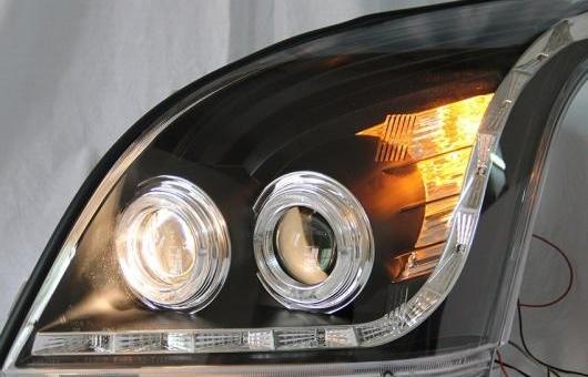 AL 適用: トヨタ プラド FJ120 LED ヘッドライト 2003-2009 ヘッドランプ アセンブリ ターン ライト DRL レンズ H7 HID キセノン BI 4300K~8000K 35W・55W AL-HH-0925