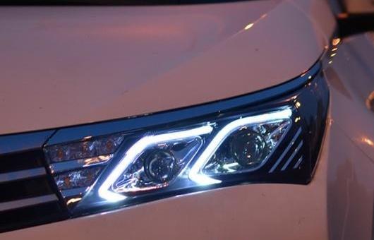 AL 適用: トヨタ カローラ ヘッドライト 2014-2016 LED DRL BI キセノン レンズ ハイ ロー ビーム パーキング フォグランプ 4300K~8000K 35W・55W AL-HH-0986