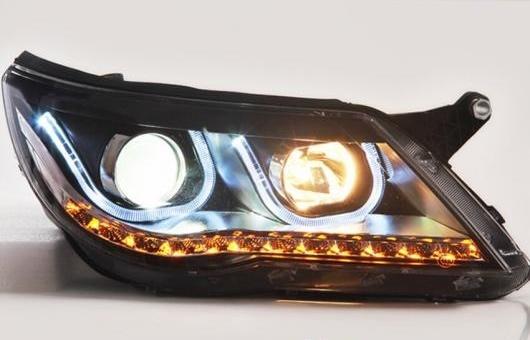 AL LED ヘッドランプ 適用: VW フォルクスワーゲン/VOLKSWAGEN ティグアン ヘッドライト 2010-2012 DRL H7 HID Q5 バイキセノン レンズ ロー ビーム 4300K~8000K 35W・55W AL-HH-1163