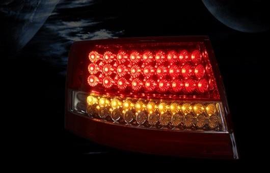 AL 適用: アウディ/AUDI A6L LED テールライト 2005-2008 テール ライト リア ランプ DRL + ブレーキ パーク シグナル レッド AL-HH-1165