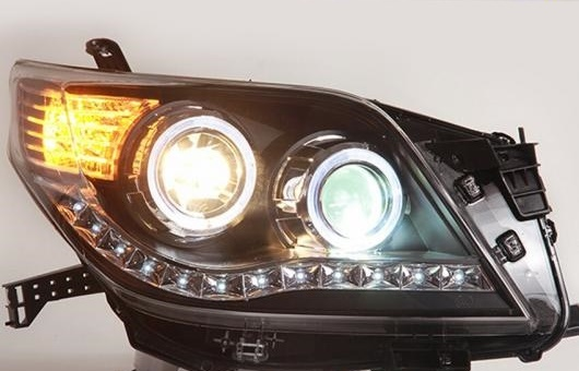 AL 適用: トヨタ プラド ヘッドライト 2010-2013 LED GIT ヘッドランプ エンジェル アイ DRL H7 HID R20 バイキセノン レンズ 4300K~8000K 35W・55W AL-HH-1174
