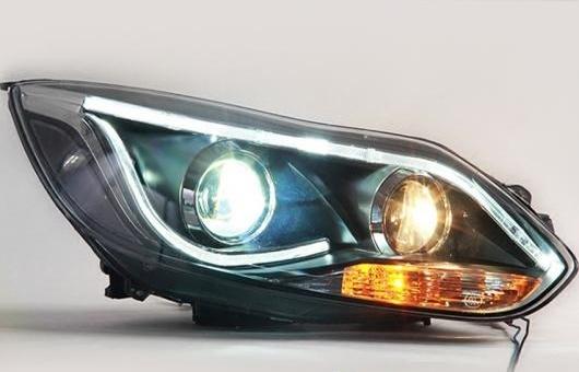 AL LED ヘッドランプ 適用: フォード/FORD フォーカス ヘッドライト 2012-2015 DRL H7 HID Q5 バイキセノン レンズ ロー ビーム 4300K~8000K 35W・55W AL-HH-1198