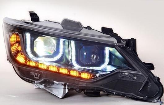 AL 適用: トヨタ カムリ ヘッドライト 2015 LED GIT ヘッドランプ エンジェル アイ DRL H7 HID R20 バイキセノン レンズ 4300K~8000K 35W・55W AL-HH-1212