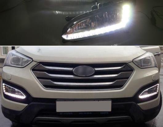 AL 適用: ヒュンダイ/現代/HYUNDAI サンタフェ IX45 2013 2014 2015 ABS 防水 スーパー 輝度 30W 12V DRL LED デイタイムランニングライト AL-HH-1388