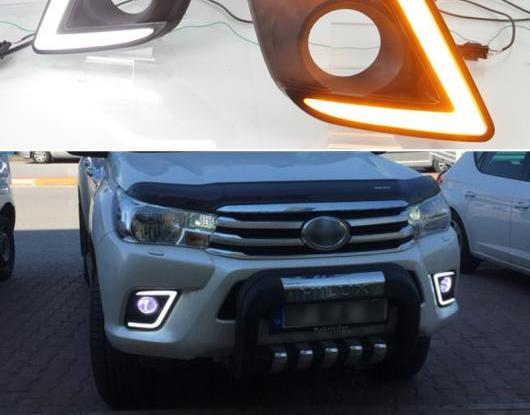 AL 適用: トヨタ ハイラックス レボ ヴィーゴ 2015 2016 イエロー シグナル スタイル リレー 防水 ABS ケース 12V DRL LED デイタイムランニングライト AL-HH-1410