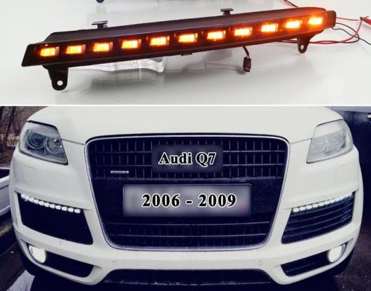 AL 2ピース 適用: アウディ/AUDI Q7 2006 2007 2008 2009 イエロー ターンシグナル 機能 DRL 防水 12V LED デイタイムランニングライト フォグランプ バルブ AL-HH-1412