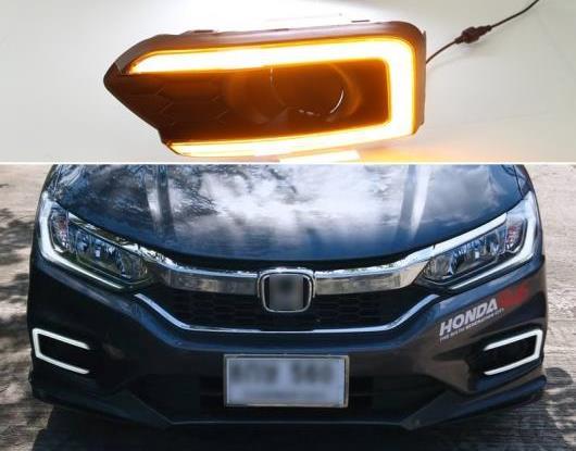AL 適用: ホンダ シティ グレイス 2017 2018 2019 ターン イエロー シグナル リレー 防水 ABS 12V ランプ DRL LED デイタイムランニングライト フォグ ランプ AL-HH-1505