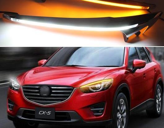 AL ヘッドライト アイブロー 装飾 イエロー ターンシグナル リレー DRL LED デイタイムランニングライト 適用: マツダ CX-5 CX5 2012-2014 2015 2016 AL-HH-1541