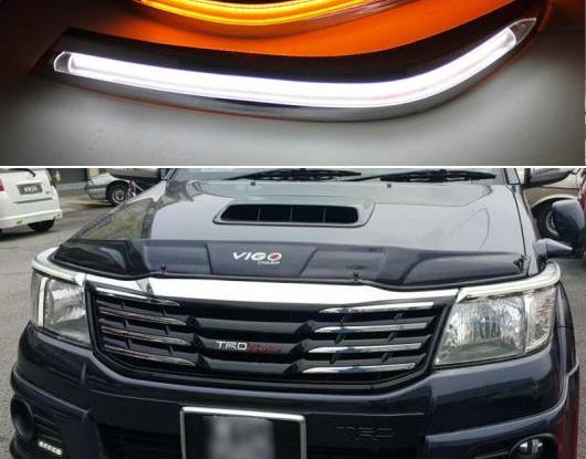 AL 2ピース ヘッドライト アイブロー 装飾 イエロー ターンシグナル リレー LED デイタイムランニングライト 適用: トヨタ ハイラックス ヴィーゴ 2012-2014 AL-HH-1543