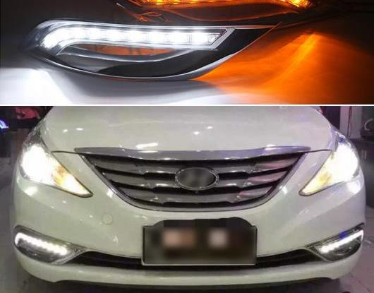 AL 適用: ヒュンダイ/現代/HYUNDAI ソナタ YF 2011 2012 2013 2014 ターン イエロー シグナル 機能 12V DRL ランプ 防水 LED デイタイムランニングライト AL-HH-1552