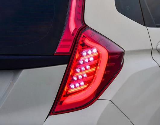 AL LED テールライト テールライト 適用: ホンダ フィット ジャズ GK5 2014-2018 リア ランニング ライト + ブレーキ ライト + リバース + ターンシグナル ライト ブラック・レッド AL-HH-1591