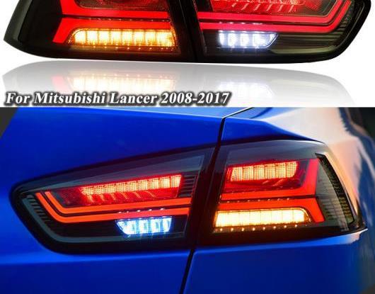 送料無料 AL LED テールライト 適用: 三菱 ランサー EVO X リア + ターンシグナル レッド ブレーキ ライト お中元 ダイナミック 人気 AL-HH-1593 フォグランプ ブラック リバース