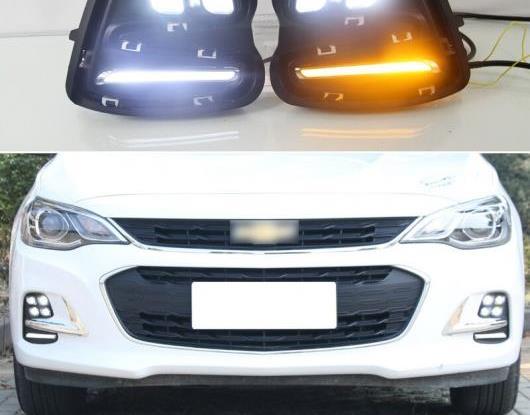 AL 2ピース LED デイタイムランニングライト 適用: シボレー/CHEVROLET キャバリエ 2016 2017 2018 イエロー ターンシグナル 機能 DRL 12V LED フォグランプ AL-HH-1594