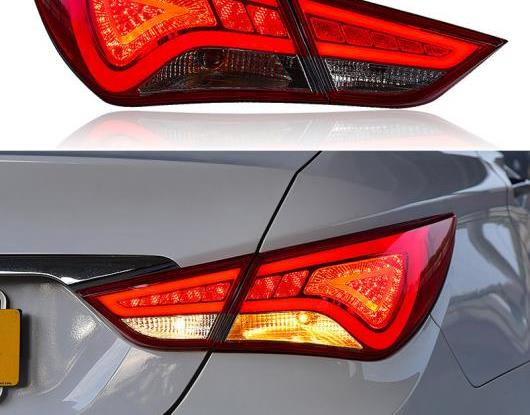 AL LED テールライト テールライト 適用: ヒュンダイ/現代/HYUNDAI ソナタ YF 2011-2014 リア フォグランプ + ブレーキ ライト + リバース ライト レッド カバー・ブラック カバー AL-HH-1613