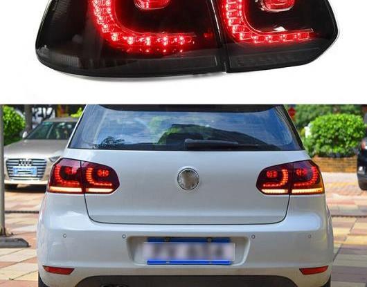 AL LED テールライト テールライト 適用: フォルクスワーゲン/VOLKSWAGEN ゴルフ 6 2009-2013 MK6 R20 リア フォグランプ + ブレーキ ライト + リバース + ダイナミック ブラック・レッド AL-HH-1620