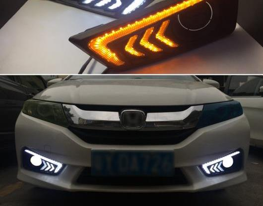AL 2ピース 適用: ホンダ シティ グレイス 2015 2016 ターン イエロー シグナル リレー 防水 ABS 12V ランプ DRL LED デイタイムランニングライト フォグ ランプ AL-HH-1622