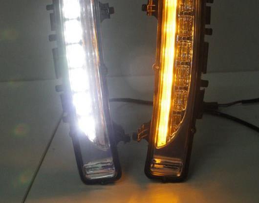 AL 2ピース LED デイタイムランニングライト 適用: フォード/FORD エッジ 2009-2014 イエロー チューニング シグナル リレー 防水 12V LED DRL ランプ AL-HH-1642